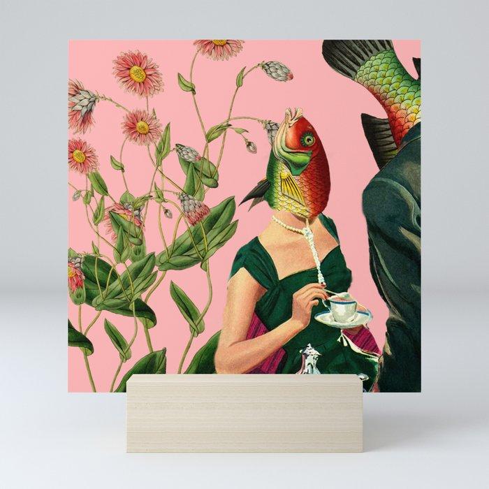 fish soul mate pink #collage Mini Art Print