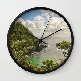 Mountain view of Caribbean Sea Wall Clock