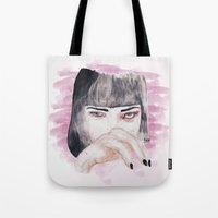 pulp fiction Tote Bags featuring pulp fiction. by Ruwaa