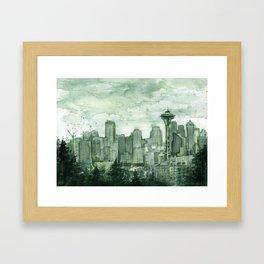 Seattle Skyline Watercolor Space Needle Emerald City 12th Man Art Framed Art Print