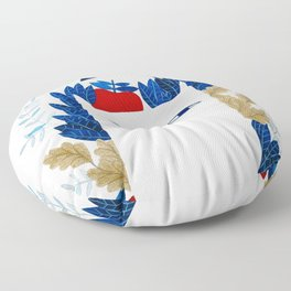 white cat with botanical illustration in blue Floor Pillow