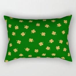 Golden Shamrocks Green Background Rectangular Pillow