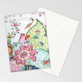 Damask antique floral porcelain china chinoiserie plate of flowers and crane bird vintage photo Stationery Cards