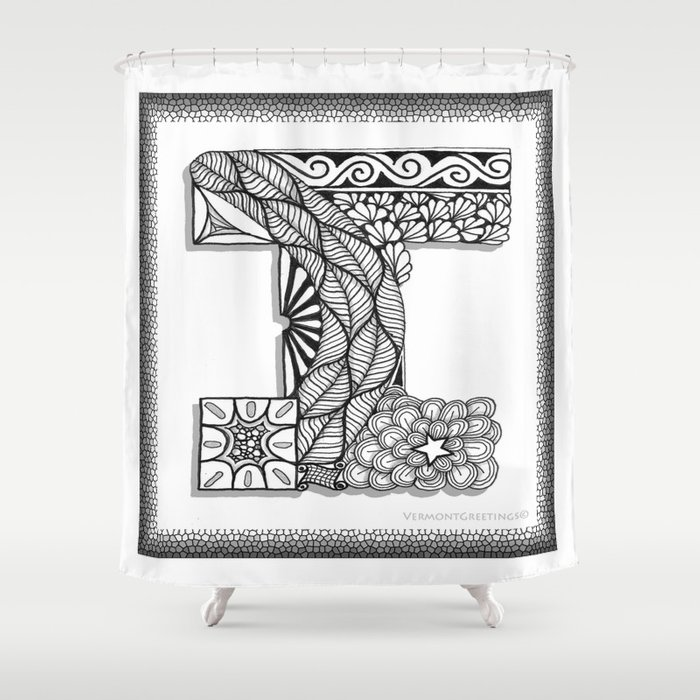 Zentangle I Monogram Alphabet Initial Shower Curtain by ...