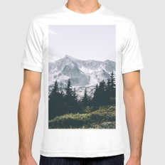 Mountains #faded White Mens Fitted Tee MEDIUM