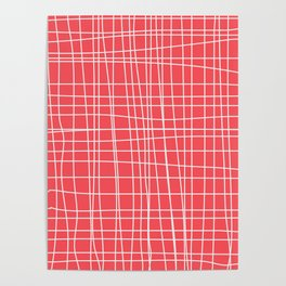 Simple Grid on Red Poster