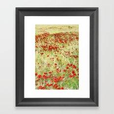 Windy poppies Framed Art Print