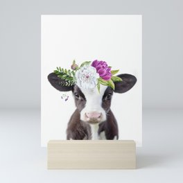 Baby Cow with Flower Crown Mini Art Print