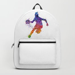 Girl Basketball Colorful Watercolor Sports Artwork Backpack
