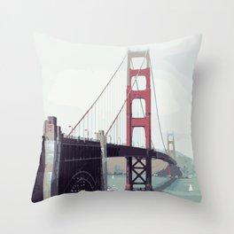 Golden Gate Watercolor Art Throw Pillow