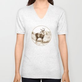 White-tailed Stag Sniffing the Air Unisex V-Neck