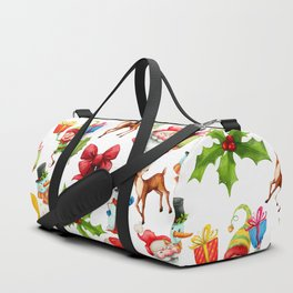 Holiday festive red green holly Christmas pattern Duffle Bag