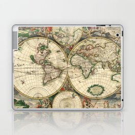 Old map of world hemispheres. Created by Frederick De Wit, published in Amsterdam, 1668 Laptop & iPad Skin
