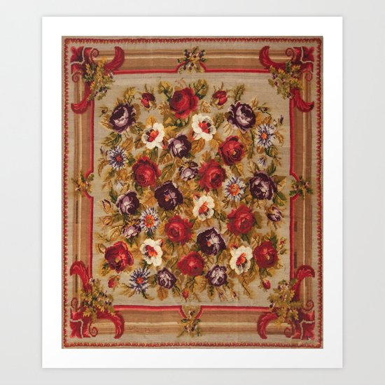 Antique Russian Bessarabian Floral Rug Print by vickybragomitchell