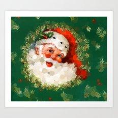 Bubble Dot Santa Christmas Art Print