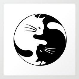black and white cat yinyang Art Print