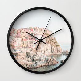 Positano, Italy Amalfi coast pink-peach-white travel photography in hd Wall Clock