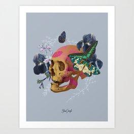 Gold Skull Butterfly Flower Black Jungle Art Print