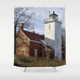 40 Mile Pt Lighthouse Shower Curtain