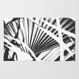 palm tree leaves - black and white plant pattern Rug