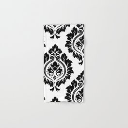 Decorative Damask Art I Black on White Hand & Bath Towel
