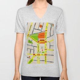 Tel Aviv map design - written in Hebrew Unisex V-Neck