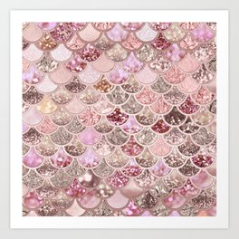 Rose Gold Blush Glitter Ombre Mermaid Scales Pattern Art Print