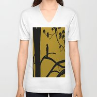 golden V-neck T-shirts featuring Golden by Karol Livote