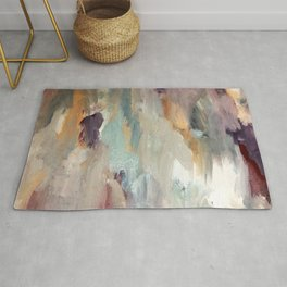 Gentle Beauty [4] - an elegant acrylic piece in deep purple, red, gold, and white Rug