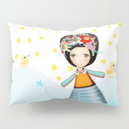Frida and Ducks Yellow Polka Dots Pillow Sham