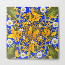 GREEN FROGS & BUTTERFLY WHITE DAISIES BLUE MANDALA Metal Print