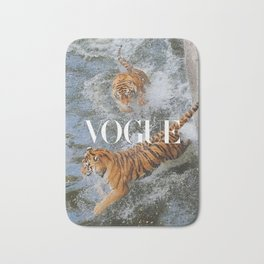 two tiger in water Bath Mat
