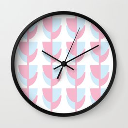 Tulips In Amsterdam - Pink and Blue Wall Clock