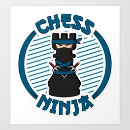Chess Ninja Fighting Rook Figure - Cool Chess Club Gift Art Print