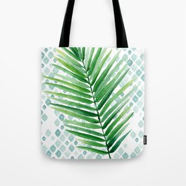 Tropical Palm Frond Watercolor Painting Tote Bag