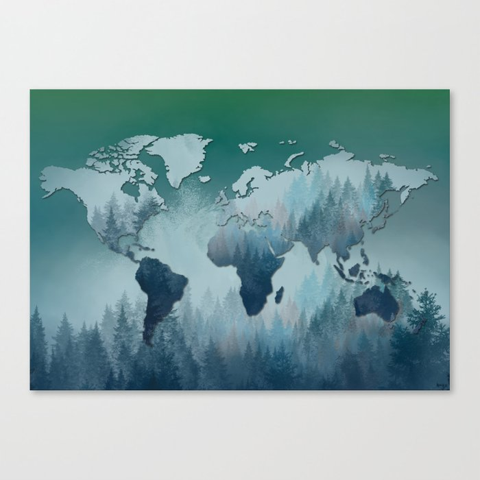 world map forest 4 Canvas Print
