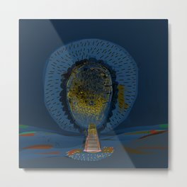Tree Cactus in a Blue Desert Metal Print