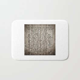 For what it's worth by F Scott Fitzgerald #woodbackground #poem Bath Mat