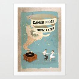 Gramophone couple swing dance Art Print