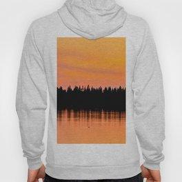 Orange Sunset With Forest Reflection On Lake Hoody