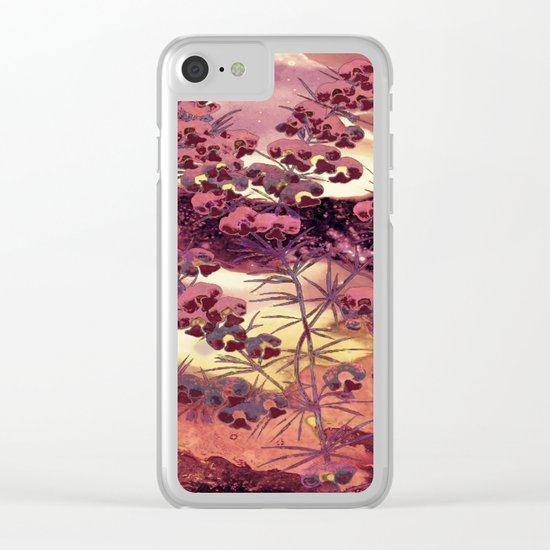 pink Christmas landscape Clear iPhone Case