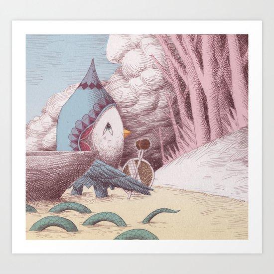 Drummer Bird - Arriving Art Print