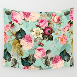 Vintage & Shabby Chic - Summer Teal Roses Flower Garden Wall Tapestry