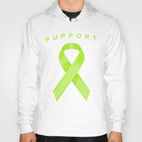 lime green Hoodies featuring Lime Green Awareness Ribbon by Campen Arts