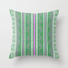 Pink Roses and Lace on Mint Throw Pillow