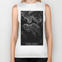 Hong Kong Black Map Biker Tank