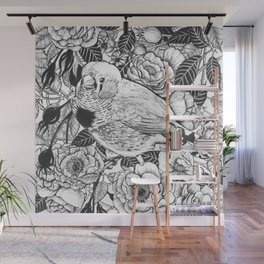 Zebra finch and rose bush ink drawing Wall Mural