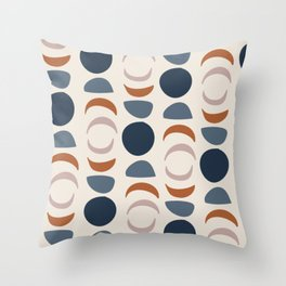 Moon Phases Pattern in blue, terracotta, pink Throw Pillow