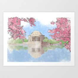Cherry Blossom - Jefferson Memorial Art Print