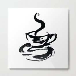Brushstroke Coffee Cup by Kathy Morton Stanion Metal Print